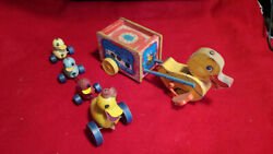 Lot 1940's Vintage Fisher Price Wooden Pull Toys. 2 Different Ducks