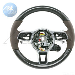 Porsche 991 Gts Cayman 718 Boxster Carbon And Saddle Brown Leather Steering Wheel