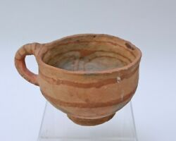 Large Early Mohave Indian Pottery Cup With Handle - 4 1/2 X 8 Across Handle