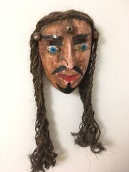 Large Antique Mexican Or Guatemalan Festival Mask Wood Carved Folk Art Rare