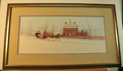 P Buckley Moss Colonial Sleigh Ride Framed Limited Edition Print Signed 1983