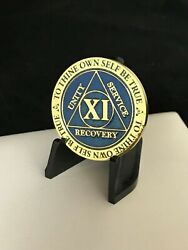 11 Year Blue Aa Medallion -- Alcoholics Anonymous Chip