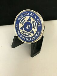 11 Year Blue And Silver Aa Medallion -- Alcoholics Anonymous Chip