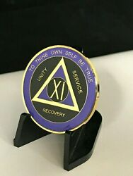 11 Year Purple And Black Aa Medallion -- Alcoholics Anonymous Chip