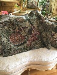 Vintage Beautiful Antique Tapestry Victorian Couple Romantic Unfinished Fabric