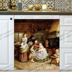 Kitchen Dishwasher Magnet Cover - Old Time European Family Life