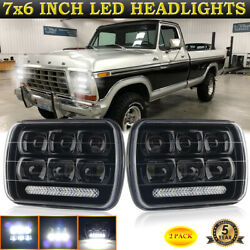 Pair H6054 5x7 7x6 Led Headlights Drl Conversion Kit For Ford F-150 F-250 Truck
