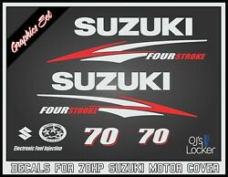 Suzuki 70hp Four Stroke Decal Kit - Outboard Engine Replacement Die-cut Stickers