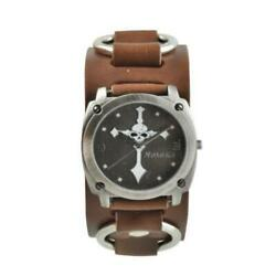 Black Skull Cross Watch With Brown Leather Ring Band Brb927k