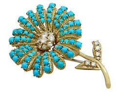 Vintage 6.66 Ct Turquoise & 1.48 Ct Diamond 18k Yellow Gold Flower Brooch 1967