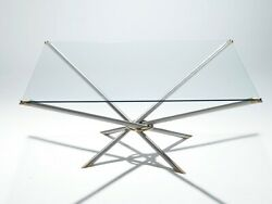 French Hollywood Regency Metal And Brass Coffee Table 1970s