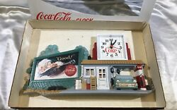 Vintage Coke Clock•gas Station And Billboard •mint Condition