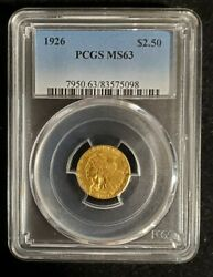 1926-p 2.5 Indian Quarter Eagle Pcgs Ms63 Ms-63 Free Shipping