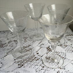 Antique Sherry Aperitif Crystal Glasses Etched European Set Of 4 Two Patterns