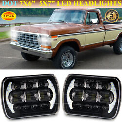 Pair 7x6 Black Led Headlights With Drl For Ford F-100 F-150 F-250 Ranger Truck