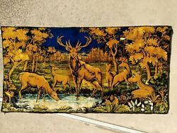 VINTAGE TAPESTRY MADE IN ITALY FAMILY OF DEER 20quot;x38quot; IN GOOD CONDITION