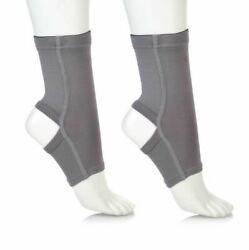 Copper Fit 2 Pack Of Unisex Ankle Sleeves Large-iron Gray