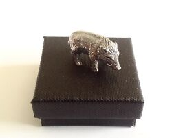 Solid Sterling Silver Miniature Wild Boar Pig Animal Figure Vintage Style