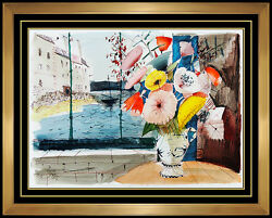 Charles Levier Original Gouache Painting Signed Floral Still Life Oil Art Large