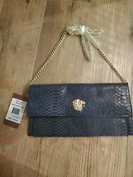 NEW $298.00 Bruno magli Magdalena Woman clutch Navy Snake color leather purse $234.00