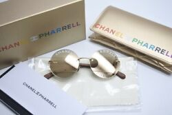 CHANEL X PHARRELL WILLIAMS COLLECTION SUNGLASSES WCASE WOOD TEMPLE GOLD RARE