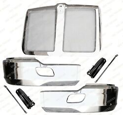 QSC Chrome Steel Bumper Corner Left & Right Pair w Grille for Kenworth T680