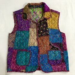 Vintage Floral Quilted Patch Vest Reversible Boho Shirt Gypsy Hippie Top Light M