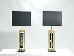 Pair Of Large Philippe Cheverny Brass And Nickel Table Lamps 1970s