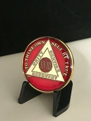 18 Year Red Aa Medallion -- Alcoholics Anonymous Chip
