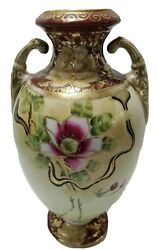 Antique 19th Century Porcelain Vase Beaded Pictorial Hand Painted 24k Gold