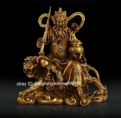 Chinese Brass God Of Wealth Zhao Gongming Hold Treasure Bowl Ride Tiger Statue