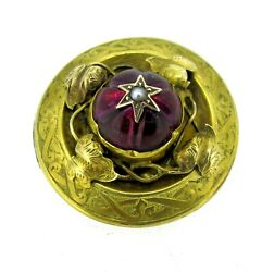 Vintage 14k Yellow Gold Very Rare Man Made Ruby And Seed Pearl Victorian Hair Pin