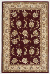 Traditional Tufted Red White Ivory Wool Art Silk Rug 5'6 X 8'6