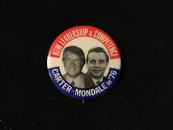 CARTER MONDALE IN 76 NEW LEADERSHIP 1 1 2 INCH POLITICAL BUTTON