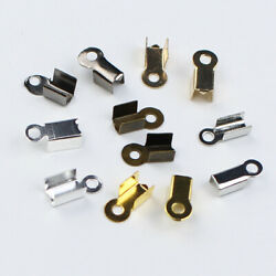 200pcs Cord End Cap Tips Connector Termination Fold Over Crimp Necklace Findings