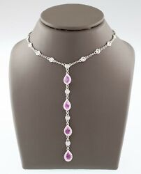 18k White Gold Pink Sapphire And Diamond Drop Pendant Necklace Tcw 4.2 Ct