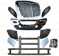 Qsc Bumper W/ Stainless Steel Grille Headlight Large Deer Guard Set For Prostar