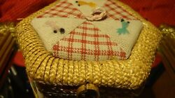 Vtg Antique Sewing Box Basket Hand-made Wicker Embroidered 5x 5x 3.25  G7
