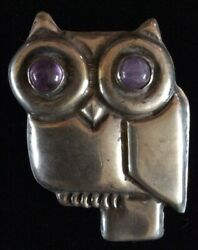 Early Mexican Silver And Amethyst Owl Brooch