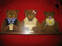 Shirley Jane Miller, Antique Solid 1.0mahogany Hand Painted The 3 Bears