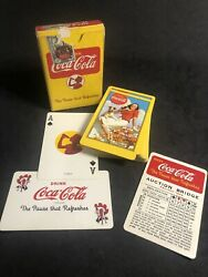 Rare Yellow Coca-cola Playing Cards Complete Girl And Dog Backs 1940's