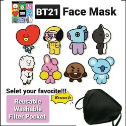 Face Mask Reusable Washable 3D with BTS BT21 Iron Patch on CustomizeDesign Own $10.99