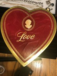 Vintage Red Valentine Heart Shaped Lift Top Cardboard Candy Box, Cameo Love