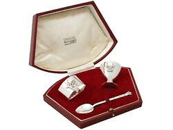 Antique Sterling Silver 3 Piece Christening Set By R.e.stone - Art Deco Style