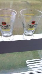 Set Of Two 2 Rare Bacardi Limon Rum Glasses And Shaker/decanter