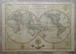 Large World Map Dated 1828 By Herisson 19e Century Decorative Antique Plate
