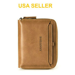 Men's Mens Leather Bifold Credit ID Card Holder Wallet Zipper Coin Pocket Purse $9.95