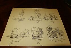 Vintage Military Cartoon Sheet 6 Scenes Wwii Possibly