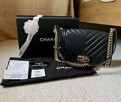 Chanel Boy Bag Medium Chevron In Black With Gold Hardware NEW