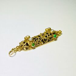 Vintage Mezuzah 14k Solid Yellow Gold Pearls Turquoise Scroll Pendant Charm